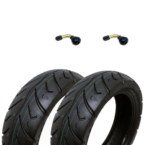 SET OF TWO: Tire 120/70-12 Tubeless Front/Rear Motorcycle Scooter Moped + 2 FREE TR87 90° Bent Metal Valve Stem