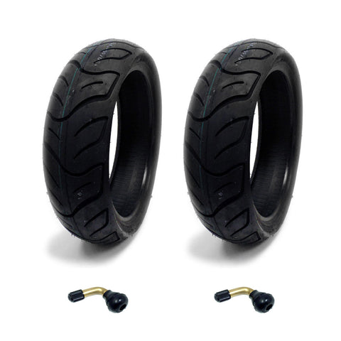 SET OF TWO: Tire 130/60-13 Tubeless Front/Rear Motorcycle Scooter Moped + 2 FREE TR87 90° Bent Metal Valve Stem