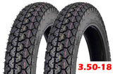 SET OF TWO: Tire 3.50 - 18 Motorcycle Scooter Moped Street Front/Rear Performance