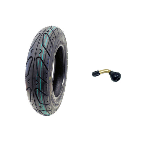 "Scooter Tubeless Tire 3.50-10 Front Rear Motorcycle Moped (Metric 100/90-10) Rim 10"" + FREE TR87 90° Bent Metal Valve Stem"