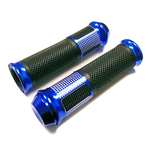 Billet Aluminum Grip Set (LH / RH) FLAT END BLUE 7/8 (22mm)