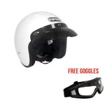 Cafe Racer Open Face Helmet + Free Goggles. Designs