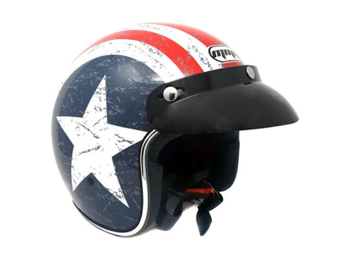 Cafe Racer Open Face Helmet + Free Goggles. Patriot