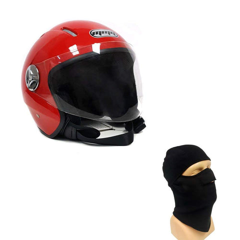 Motorcycle Scooter PILOT Open Face Helmet DOT - Red (Large) + FREE Balaclava