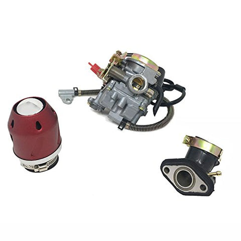 "COMBO: 50cc Carburetor, Air Filter ""Turbine"", Intake Manifold ""Scooter won't run troubleshooting Kit"" - Red"