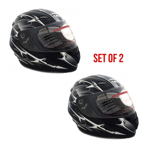 COMBO: Two (2) Motorcycle Full Face Helmets DOT Street Legal +2 Visors Comes with Clear Shield and Free Smoked Shield – Spikes BLACK 118S (1 Size Small and 1 Size Medium)