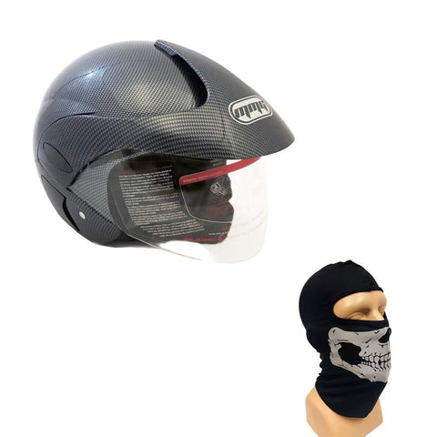 Combo Motorcycle Scooter Open Face Helmet DOT Street Legal - Flip Up Shield - Carbon Fiber (Large) with Balaclava