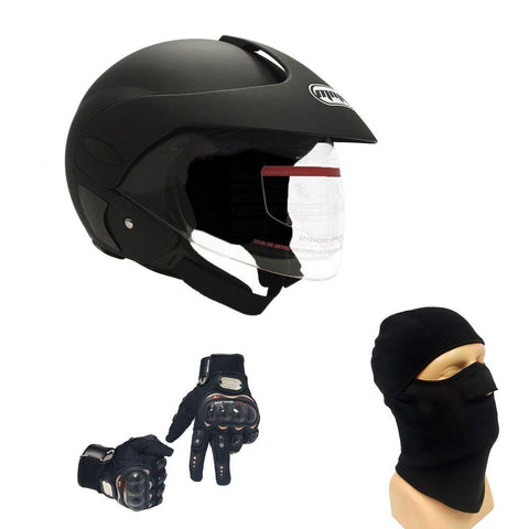 Combo Motorcycle Scooter Open Face Helmet DOT Street Legal - Flip Up Shield - Matte Black (Large) with Balaclava and Riding Black Gloves