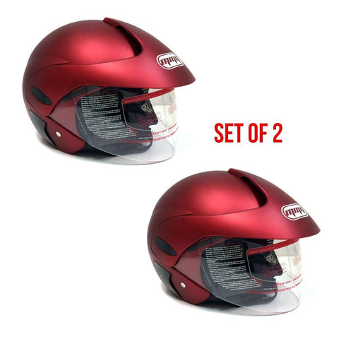 COMBO: TWO (2) Motorcycle Open Face Helmet DOT Street Legal - Flip Up Clear Shield - Matte Red LARGE
