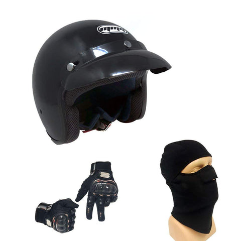 Motorcycle Cruiser 3/4 Shell Open Face Helmet Snap On Visor – Glossy Black (Medium) with Balaclava and Riding Black Gloves