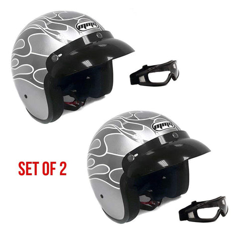 COMBO: PAIR of Motorcycle 3/4 Open Face Helmets Snap On Visor Street Cafe Racer D O T - Silver (Small) with Goggles