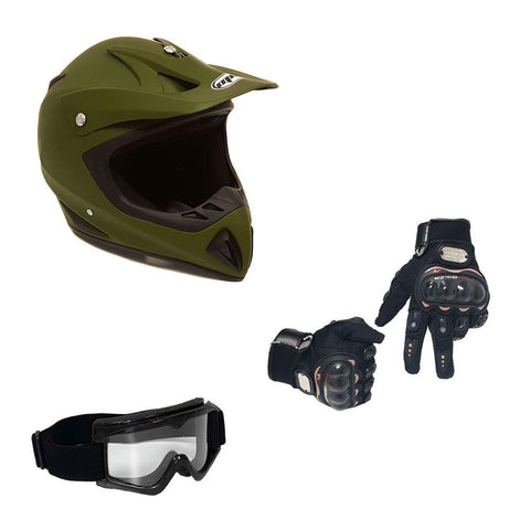 COMBO Adult Motorcycle Off Road Helmet DOT - MX ATV Dirt Bike Motocross UTV (XL, Military Green) with Riding Gloves and Goggles