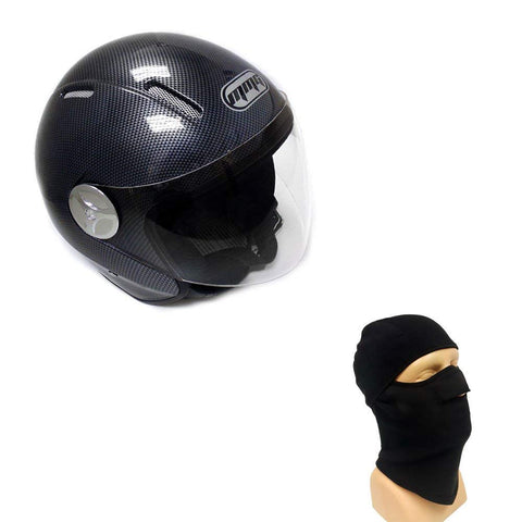 Combo Motorcycle Scooter PILOT Open Face Helmet DOT - Carbon Fiber (Medium) with Balaclava