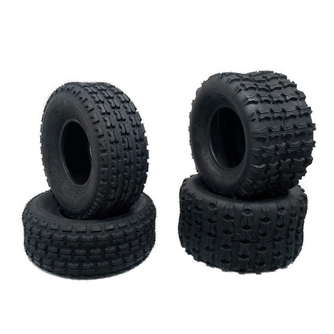 SET OF FOUR TIRES – 2 FR 19x7-8 and 2 RR 18x9.5-8 Split Knob Lug Design All Terrain ATV UTV Go Kart (P313)