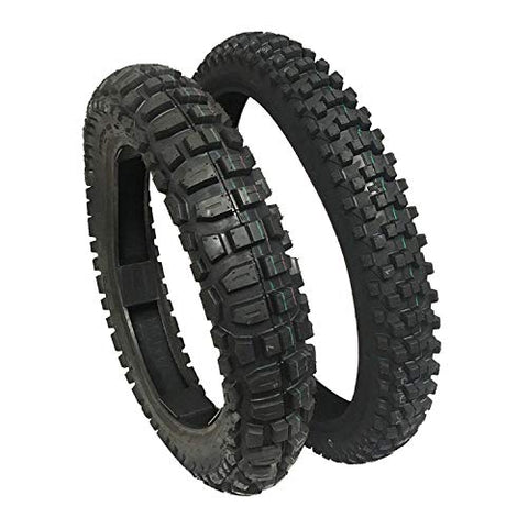 TIRE SET: Front 80/100-21 Rear 120/90-18 Knobby Tires Dirt Bike Off Road Trail