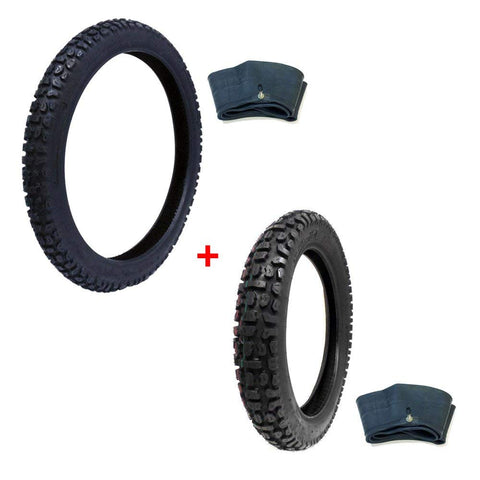 TIRE SET: Off Road Knobby Front Size 2.75-21 with Inner Tube + Rear Size 4.10-18 with Inner Tube