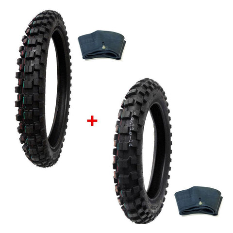 TIRE SET: Off Road Knobby Front Tire Size 70/100-17 with Inner Tube + Rear Tire Size 90/100-14 with Inner Tube