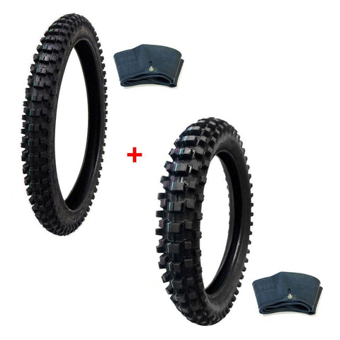 TIRE SET: 80/100-21 with Inner Tube + Rear Tire Size 100/90-19 with Inner Tube