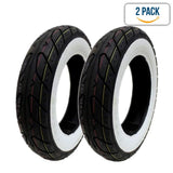 "SET OF TWO: Scooter Tubeless Tire 3.50-10 Front Rear Motorcycle Moped 10"" Rim - White Sidewall"