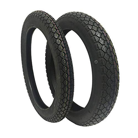 TIRE SET COMBO: Front Tire 2.75-18 and Rear Tire 3.50-18 for Motorcycles and Large Scooters