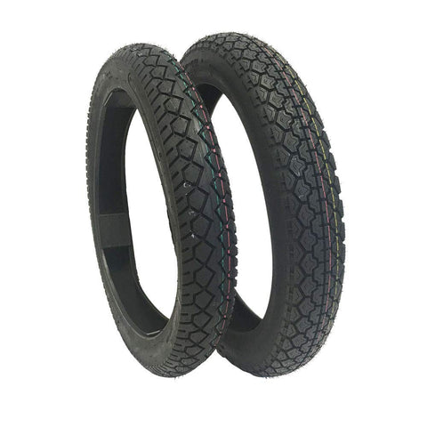 TIRE SET COMBO: Front Tire 90/90-18 and Rear Tire 3.50-18 for Motorcycles and Large Scooters