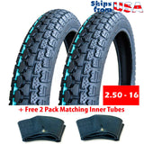 BUNDLE Motorcycle Tires: Two Tires Size 2.50 - 16 (P43) + FREE 2 Pack Matching Inner Tubes - Performance Motorcycles Dual On/Off Road Slightly Knobby Tread