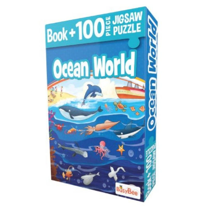 Pegasus Games & Puzzles Ocean World - Book + 100 Pieces Jigsaw Puzzle