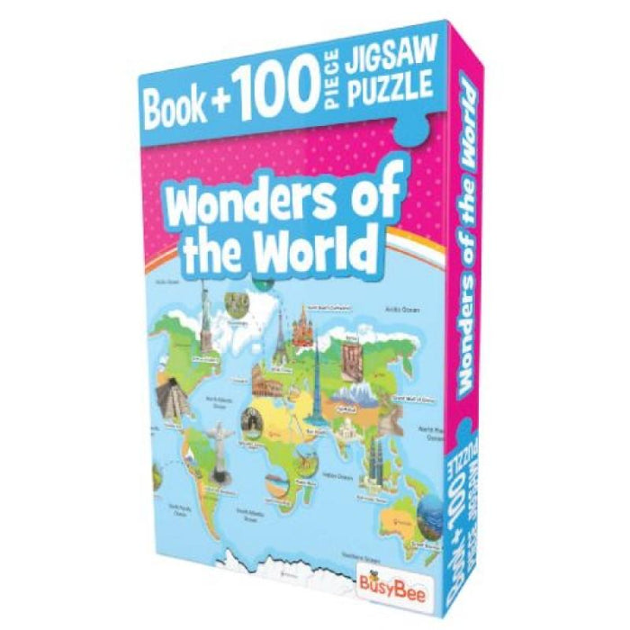 Pegasus Games & Puzzles Wonders of The World - Book + 100 Pieces Jigsaw Puzzle