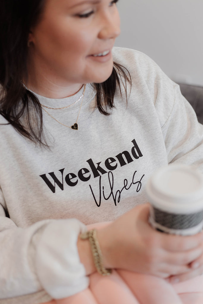Custom Sweater Weekend State of Mind Sweater Personalized Sweater Unisex Crewneck Weekend Vibe Sweater