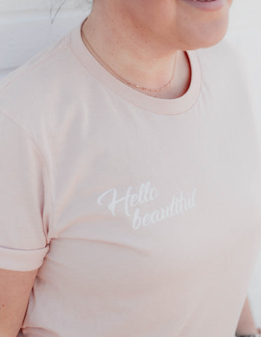 Hello Beautiful Boyfriend Tee- Peach