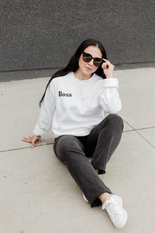 BOSS CREWNECK SWEATER - WHITE
