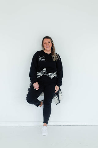 SALTY BUT SWEET CREWNECK SWEATER - BLACK