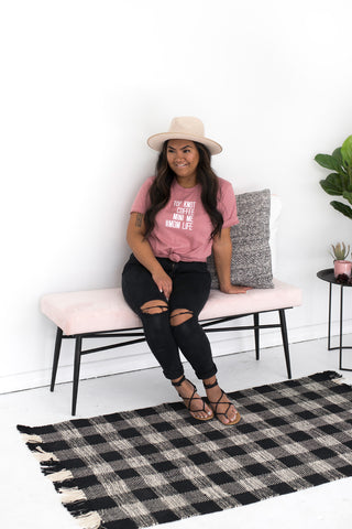 MOMLIFE Boyfriend Tee - DUSTY ROSE