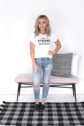 STRONG WOMAN BOYFRIEND TEE - WHITE
