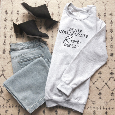 ROSE REPEAT CREWNECK SWEATER - GREY
