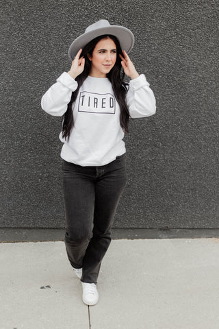 TIRED CREWNECK SWEATER - WHITE