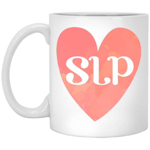 """SLP"" Watercolor Salmon Heart White Ceramic Mug"