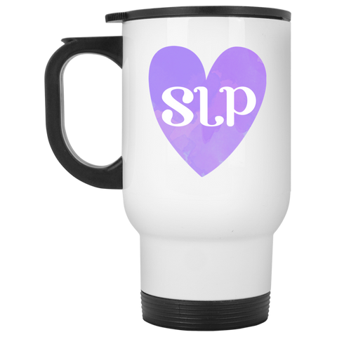 """SLP"" Watercolor Purple Heart White Stainless Steel Travel Mug"