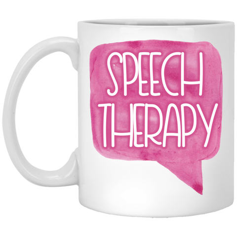 """Speech Therapy"" Watercolor Speech Bubble White Ceramic Mug"