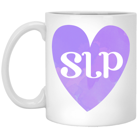 """SLP"" Watercolor Purple Heart White Ceramic Mug"