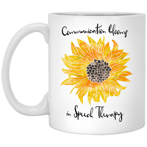 """Communication blooms in Speech Therapy"" Yellow Floral White Ceramic Mug"