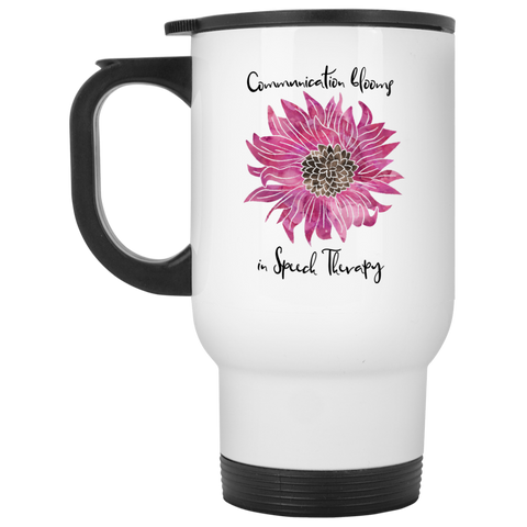 """Communication blooms in Speech Therapy"" Purple Floral White Stainless Steel Travel Mug"