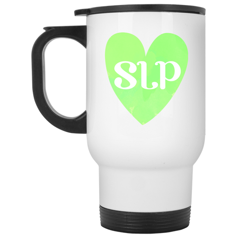 """SLP"" Watercolor Green Heart White Stainless Steel Travel Mug"