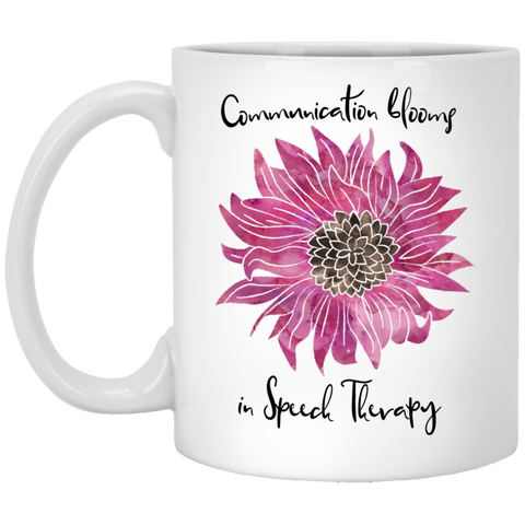 """Communication blooms in Speech Therapy"" Purple Floral White Ceramic Mug"