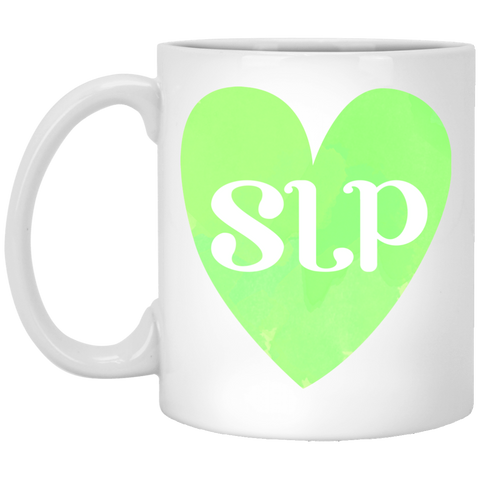 """SLP"" Watercolor Green Heart White Ceramic Mug"