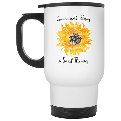 """Communication blooms in Speech Therapy"" Yellow Floral White Stainless Steel Travel Mug"