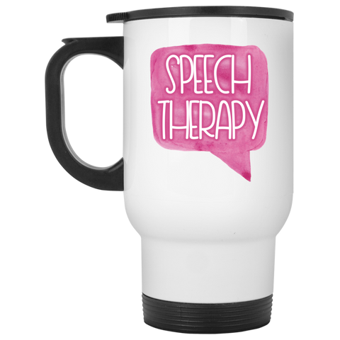 """Speech Therapy"" Watercolor Speech Bubble White Stainless Steel Travel Mug"