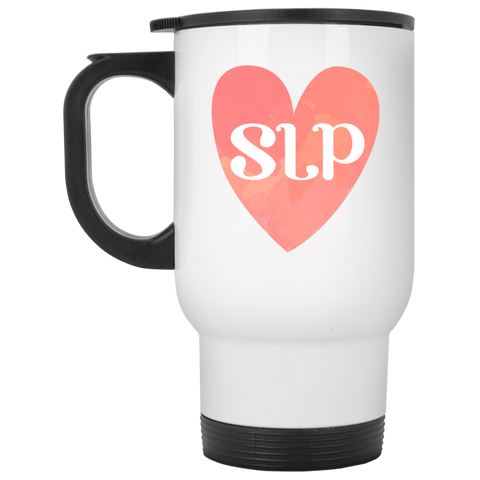 """SLP"" Watercolor Salmon Heart White Stainless Steel Travel Mug"