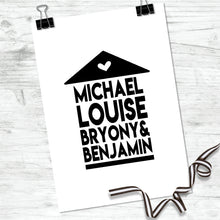 Personalised Family Names Home Print