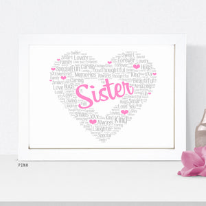 Personalised Heart Word Art Print - Female